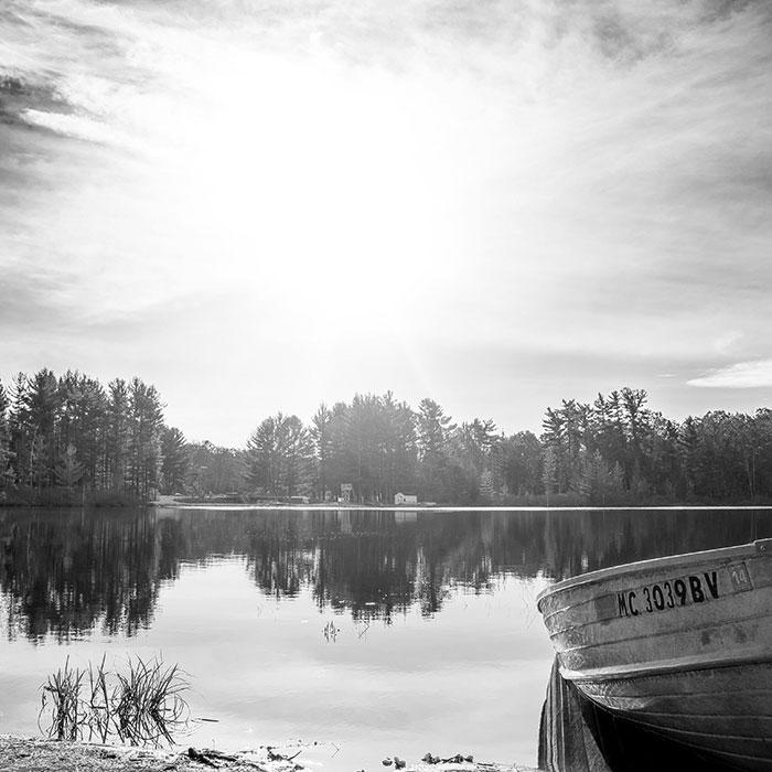 Light over lake